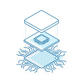 Line art microchip. Central processor unit concept. Isometric vector illustration.