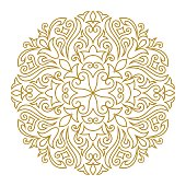 Vector illustration of Line art ornament for design template. Vintage element in Eastern style. Mandala. Outline traditional circle pattern for wedding invitations, greeting cards, certificate. Vector