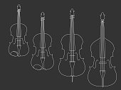 Simple white line drawing of violin, viola, violoncello, double bass musical instruments on a black background