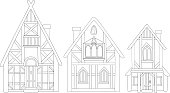 Collection of line art with beautiful european medieval houses on white bckground