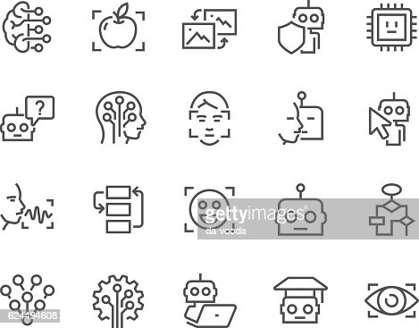 Line Artificial Intelligence Icons : clipart vectoriel