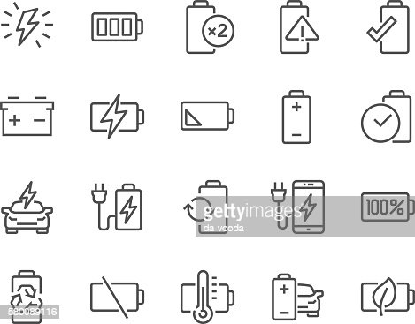 Line Battery Icons : stock vector