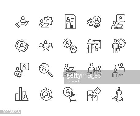 Line Business Management Icons : Arte vettoriale