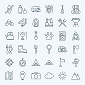 Line Camping Icons. Vector Collection of Modern Thin Outline Adventure Camp Symbols.