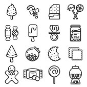 Line Candy vector icon set on white background