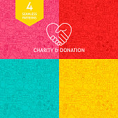 Line Charity Donation Patterns. Four Vector Website Design Backgrounds.