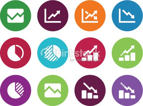 Wall Street And Stock Market Black White Icon Set Vector Art