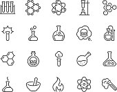 Simple Set of Chemical Related Vector Line Icons. Contains such Icons as Atom, Flask, Experiment, Research, Laboratory and more. Editable Stroke. 48x48 Pixel Perfect.