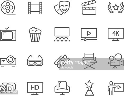 Line Cinema Icons : Clipart vectoriel