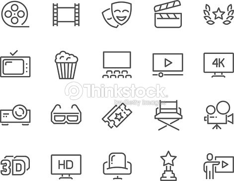 Line Cinema Icons : stock vector