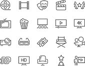 Simple Set of Cinema Related Vector Line Icons. Contains such Icons as Movie Theater, TV, Popcorn, Video Clip and more. Editable Stroke. 48x48 Pixel Perfect.