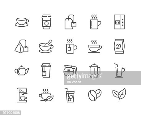 Line Coffee and Tea Icons : stock vector
