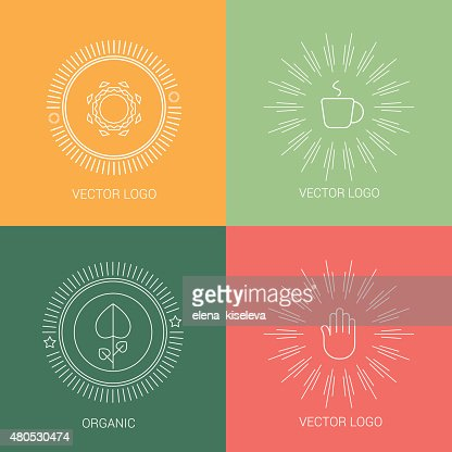 Line coffee cup design logos and icons elements for cards : Vector Art