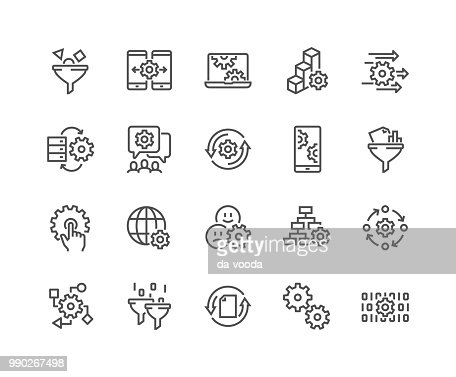 Line Data Processing Icons : stock vector