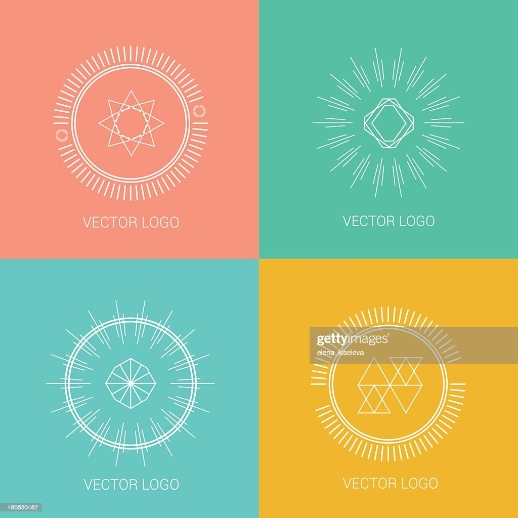 Line design logos and icons elements for cards or badges : Vector Art