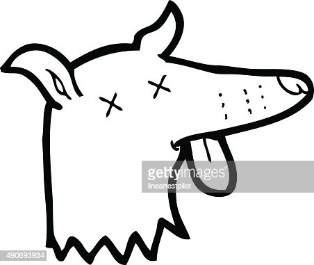 Line Drawing Cartoon Dead Dog Face Vector Art Thinkstock