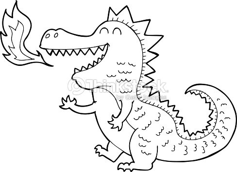 Line Drawing Cartoon Fire Breathing Dragon Stock Vector Thinkstock