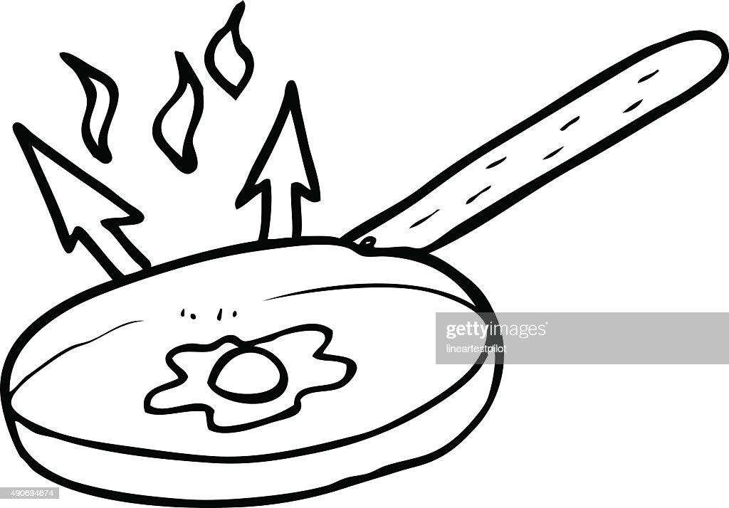 line drawing cartoon frying pan vector art thinkstock rh thinkstockphotos com vector line art software vector line art free