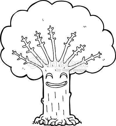 Dessin Anime Heureux Tree Linedrawing Clipart Vectoriel Thinkstock