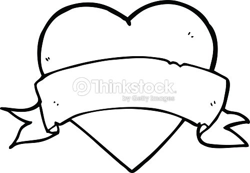Heart Tattoo Line Drawing : Line drawing cartoon heart tattoo vector art thinkstock