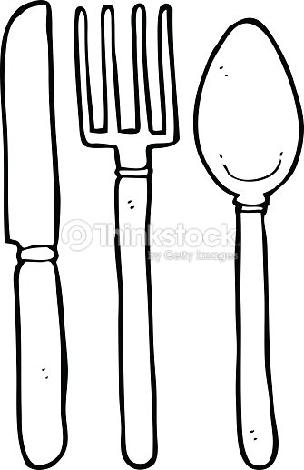 Line Drawing Knife And Fork : Line drawing cartoon knife fork spoon vector art thinkstock
