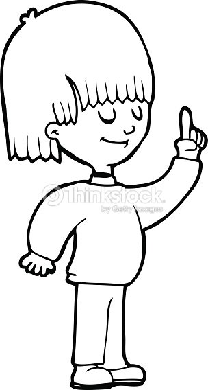 Line Art Person : Line drawing cartoon person with idea vector art thinkstock