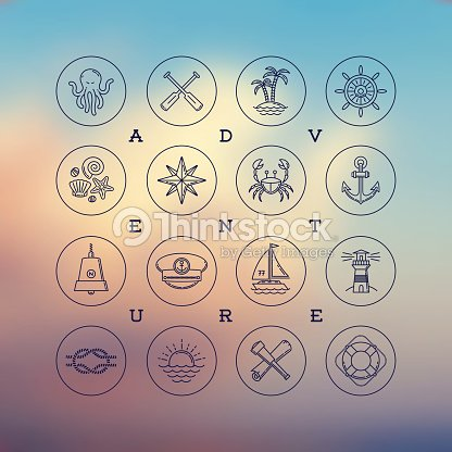 Line Drawing Icons Travel And Nautical Signs And Symbols Vector Art