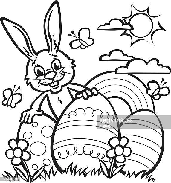 Line drawing of Easter rabbit and large Easter eggs