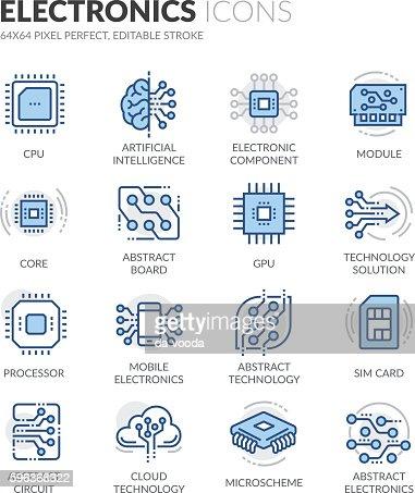 Line Electronics Icons : stock vector