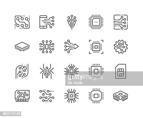 Line Electronics Icons : Vector Art