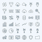 Line Filter Funnel Icons. Vector Set of Outline Data Analysis Symbols.