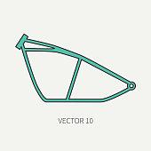 Line flat color vector motorcycle icon bike chassis. Legendary retro. Cartoon style. Biker motoclub. Highway. Framework. Gasoline engine. Freedom. Illustration, element for your design, wallpaper