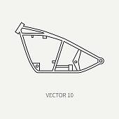Line flat plain vector motorcycle icon bike chassis. Legendary retro. Cartoon style. Biker motoclub. Highway. Framework. Gasoline engine. Freedom. Illustration, element for your design, wallpaper