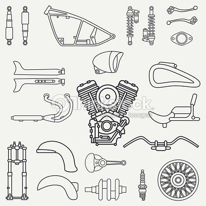 Line Flat Plain Vector Motorcycle Icon Classic Bike Repair Set Retro Cartoon Style