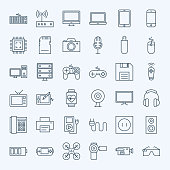 Line Gadgets and Devices Icons Set. Vector Set of Modern Thin Outline Technology and Electronic Items.