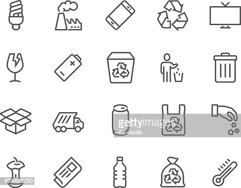 Line Garbage Icons : stock vector