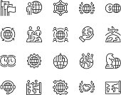 Simple Set of Global Business Related Vector Line Icons. Contains such Icons as International Partnership, Outsourcing, Branch Office and more. Editable Stroke. 48x48 Pixel Perfect.