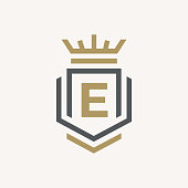 Line graphics monogram. Elegant art logo design. Letter E. Graceful template. Business sign, identity for Restaurant, Royalty, Boutique, Cafe, Hotel, Heraldic, Jewelry, Fashion. Vector elements
