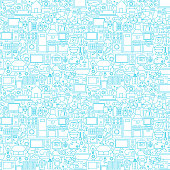 Line Household White Seamless Pattern. Vector Illustration of Outline Background.