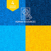 Line Human Resources Patterns. Four Vector Website Design Backgrounds.