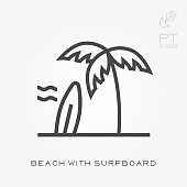 Line icon beach with surfboard