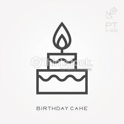 Line Icon Birthday Cake Vector Art Thinkstock