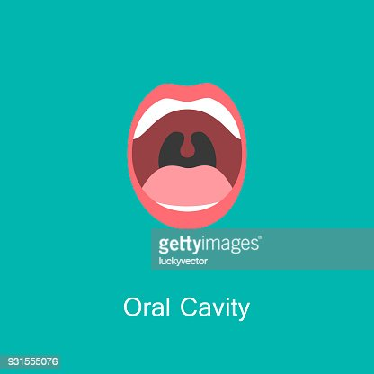 Line icon mouth with teeth. : stock vector