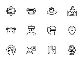 VR line icon set. Set of line icons on white background. Technology concept. Camera, device, virtual presentation. Vector illustration can be used for topics like modern technology, video, vlogging