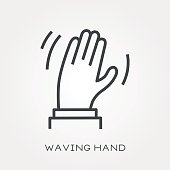Line icon waving hand
