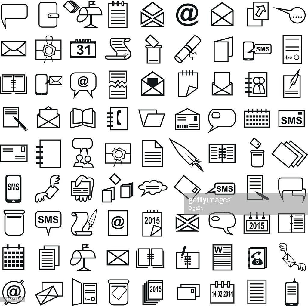 Line icons letter message Calendar : Vector Art