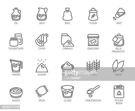 20 line icons on cookery theme. Outline icon isolated on white background. Editable Stroke. 48x48 Pixel Perfect : Arte vetorial