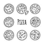 Line icons pizza set. Big fast food outline collection, vector illustration