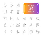 Line icons set. Bathroom pack. Vector illustration