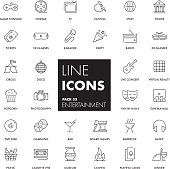 Line icons set. Entertainment pack. Vector illustration.
